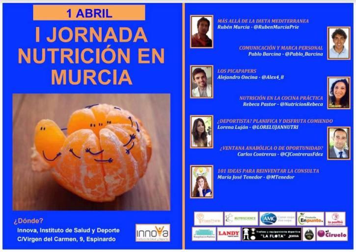 Cartel ponentes y patrocinadores I Jornada de Nutrición en Murcia